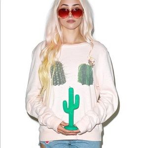 Wildfox hands off succulents cactus jumper pink XS
